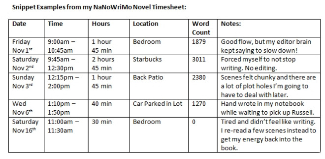 Writing Timesheet Example