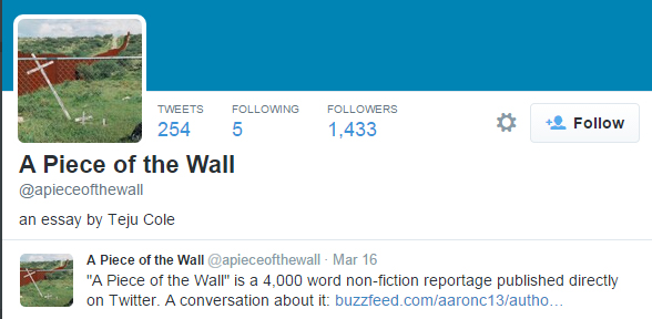 A Piece of the wall Tweet